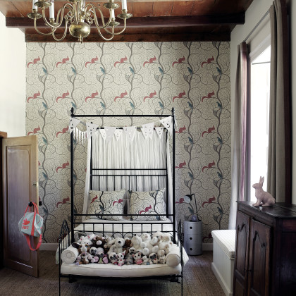 Sanderson's archival 'Squirrel and Dove' wallpaper