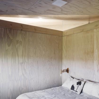 pine plywood clad wall