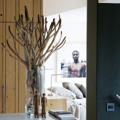 bleached oak-panelled cupboard doors