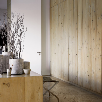bleached oak-panelled cupboards