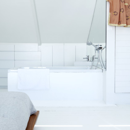 white painted wooden floor