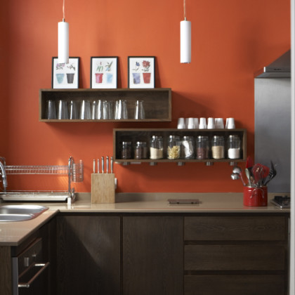 dark wood cupboards