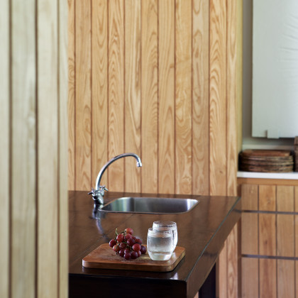 wood clad cupboard doors
