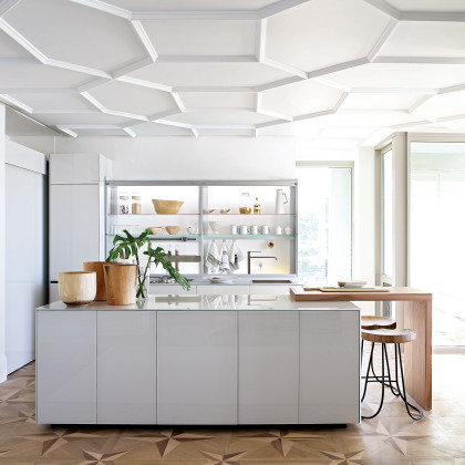 geometric ceiling pattern