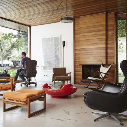 mid-century revolving armchair