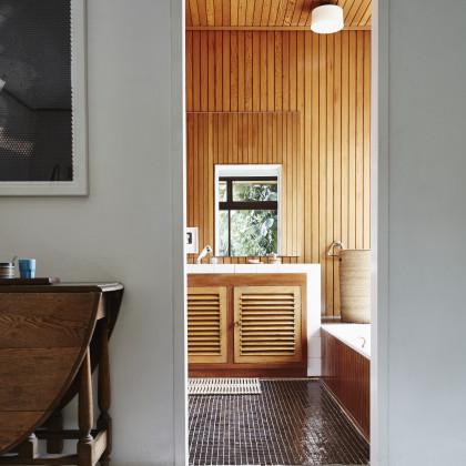 meranti clad bathroom wall